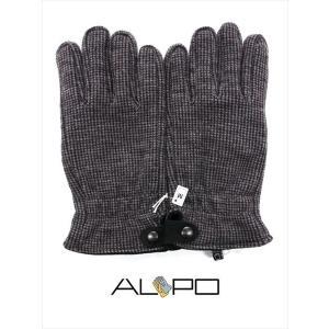 ALPO アルポ ウールグローブ グレー×ブラック 手袋 メンズ AP182UA LANIER HIPGRIG 千鳥格子柄 国内正規品|up-avanti