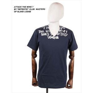 ATTACK THE MIND 7 アタックザマインドセブン VOUGUE メッセージプリント V NECK 半袖シャツ Vネック カットソー ATMX001 CT01 ネイビー 国内正規品 up-avanti