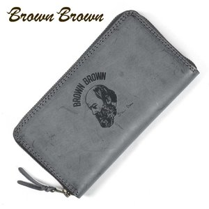 BrownBrown ブラウンブラウン Mr.Brown ラウンドジップ ロングウォレット 長財布 本革 ワックスレザー クリスマススペシャル  ブラック bbl-20w9 up-avanti