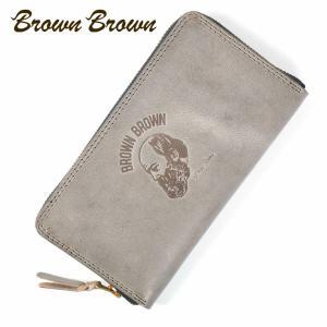 BrownBrown ブラウンブラウン Mr.Brown ラウンドジップ ロングウォレット 長財布 本革 ワックスレザー クリスマススペシャル グレー bbl-20w9 up-avanti
