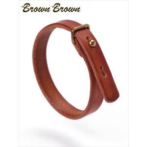 BrownBrown ブラウンブラウン レザーブレスレット BBL-667 オレンジ 本革 国内正規品 up-avanti