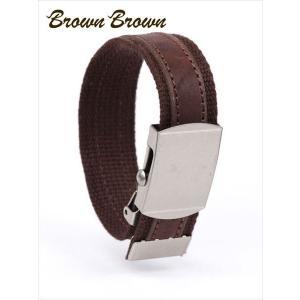 BrownBrown ブラウンブラウン レザー×コットン ブレスレット レザーアクセサリー BBL-697 ダークブラウン 国内正規品 up-avanti