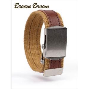 BrownBrown ブラウンブラウン レザー×コットン ブレスレット レザーアクセサリー BBL-697 イエロー 国内正規品 up-avanti