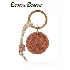 BrownBrown ブラウンブラウン レザー キーリング BBL-703 ブラウン 本革 ロゴチャーム付 キーホルダー ギフト 国内正規品 up-avanti