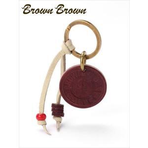 BrownBrown ブラウンブラウン レザー キーリング BBL-703 レッド 本革 ロゴチャーム付 キーホルダー ギフト 国内正規品 up-avanti