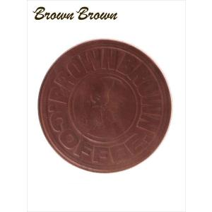BrownBrown ブラウンブラウン レザー コースター 本革 ロゴ 型押し カービング BBL-707 ダークブラウン 国内正規品 up-avanti