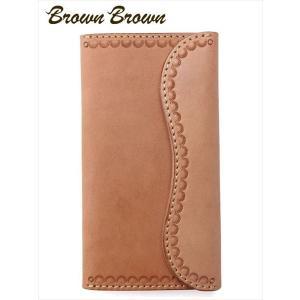 BrownBrown ブラウンブラウン ミドルウォレット カービング 栃木レザー 長財布 本革 BBL-758 ベージュ 国内正規品 up-avanti