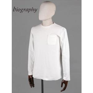 biography バイオグラフィー 長袖カットソー マイクロパイル ホワイト BMFW1731 ロングTシャツ タオル地 国内正規品|up-avanti