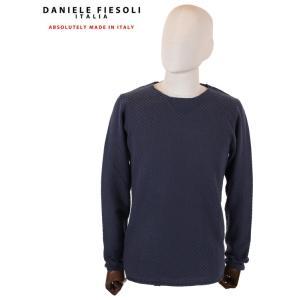 【国内正規品】DANIELE FIESOLI ダニエレフィエゾーリ 長袖クルーネックニット ブロック DF0068 0023 NAVY ネイビー up-avanti