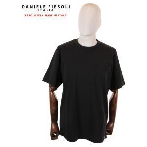 【国内正規品】DANIELE FIESOLI ダニエレ フィエゾーリ 半袖カットソー Tシャツ コットン イタリア製 DF0637 ブラック up-avanti