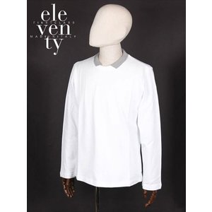 ELEVENTY イレヴンティ 鹿の子 長袖 ポロシャツ ホワイト FE0181-FEL25001 イタリア製 コットン イレブンティ 国内正規品 up-avanti