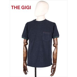 THE GIGI ザ・ジジ パイル カットソー Tシャツ ネイビー RODI RH809 袖ボーダー 胸ポケット 国内正規品 up-avanti