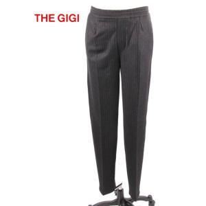 THE GIGI ザ・ジジ ストライプパンツ ドローコード付き ベルトレス ワンタック GG192UAKINGSL218 BLACK ブラック 国内正規品 up-avanti