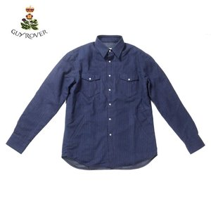 【20%OFFセール】GUY ROVER ギローバー Yシャツ シャツブルゾン ピンストライプ ネイビー GR374LJ-592602 国内正規品 up-avanti