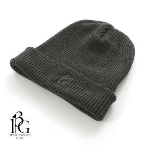 1PIU1UGUALE3 GOLF ウノピゥウノウグァーレトレ ゴルフ ニットキャップ ニット帽 ロゴ刺繍 GRG066-WOL109 チャコールグレー 国内正規品|up-avanti