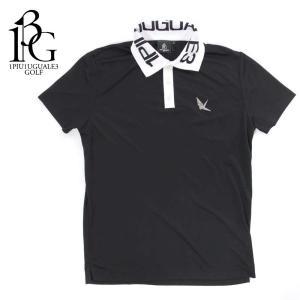 1PIU1UGUALE3 GOLF ウノピゥウノウグァーレトレ ゴルフ ポロシャツ メンズ ロゴ ショートスリーブ バイカラー ブラック grt027-pry073 国内正規品|up-avanti