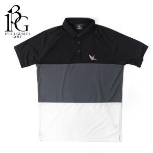 1PIU1UGUALE3 GOLF ウノピゥウノウグァーレトレ ゴルフ ポロシャツ ボーダー ショートスリーブ ホワイト/グレー/ブラックgrt028-pry073|up-avanti