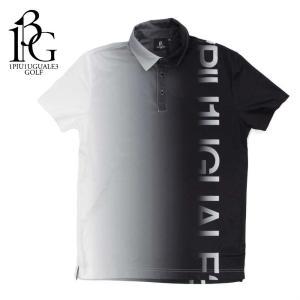 1PIU1UGUALE3 GOLF ウノピゥウノウグァーレトレ ゴルフ ポロシャツ メンズ ロゴ グラデーション ショートスリーブ ブラック grt032-pry073 国内正規|up-avanti