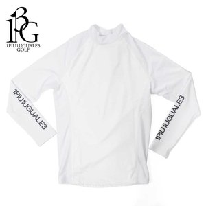 1PIU1UGUALE3 GOLF ウノピゥウノウグァーレトレ ゴルフ アンダーシャツ メンズ 長袖 カットソー ロゴ ハイネック ホワイト grt039-nyu035|up-avanti
