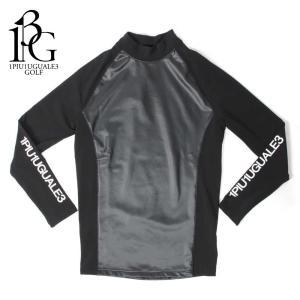 1PIU1UGUALE3 GOLF ウノピゥウノウグァーレトレ ゴルフ アンダーシャツ メンズ 長袖 カットソー ロゴ ハイネック ブラック grt039-nyu035|up-avanti