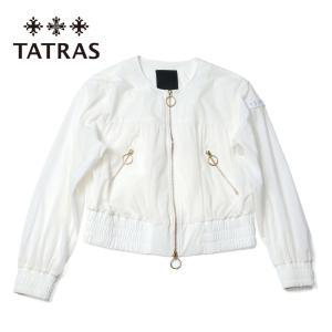 レディース TATRAS タトラス TICHE ゴールドジップ ブルゾン ノーカラー ショート丈 ライトジャケット LTAT21S4845-L ホワイト 国内正規品|up-avanti
