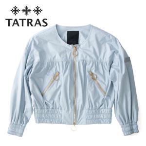 TATRAS タトラス レディース ILIZIA ノーカラー ショート丈 ブルゾン ギャザー パフスリーブ ltat21s4847-l  SAX サックス ブルー 国内正規品|up-avanti