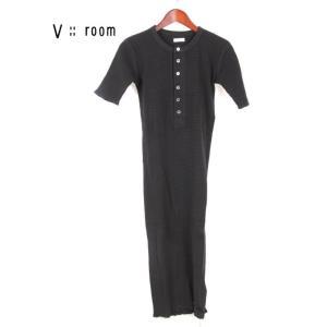 【国内正規品】【レディース】 V::room ヴィルーム ワンピース ヘンリーネック 半袖 サーマル Vroom LVR20S6002 ブラック|up-avanti