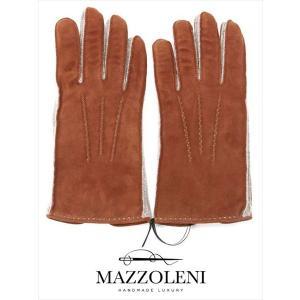 MAZZOLENI マッツォレーニ スエードグローブ ライトブラウン 387 手袋 羊革 カシミア 国内正規品|up-avanti