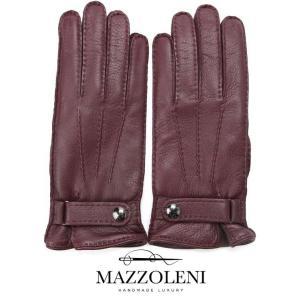 MAZZOLENI マッツォレーニ ボタン付きグローブ ワインレッド 394 手袋 鹿革 カシミア 国内正規品|up-avanti