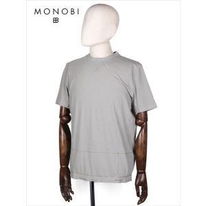 MONOBI モノビ スリットネック 半袖カットソー グレー MMB18S8003 リブネック Tシャツ ラインボーダー 国内正規品|up-avanti