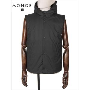 MONOBI モノビ 中綿入りベスト ナイロン 中綿入りベスト MMB19A4104 AIR VEST ブラック フード付 国内正規品|up-avanti