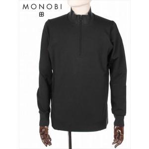 MONOBI モノビ ボンデッドジャケット MMB19A4119 ブラック スリットネック ハーフジップ 立体裁断 国内正規品|up-avanti