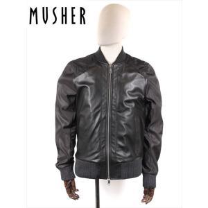 MUSHER マーシャー シングルライダースジャケット ウォッシュ 羊革×ナイロン COMBINATION MSH240C ブラック MMU19A4084 オイルドレザー 国内正規品 up-avanti
