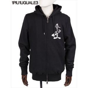 1PIU1UGUALE3 ジップアップ パーカー キャラクタープリント ブラック MRB371-COT264 99ブラック ウノピゥウノウグァーレトレ 国内正規品|up-avanti