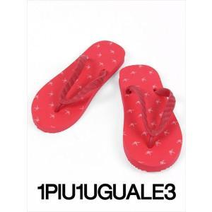 1PIU1UGUALE3 ウノピゥウノウグァーレトレ モノグラムビーチサンダル ロゴ TSUKUMO ツクモ 九十九 ハンドメイド MRG331-GOM007 45/10 赤白 国内正規品|up-avanti