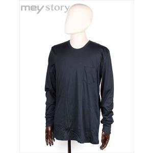 meystory マイストーリー クルーネック 長袖 Tシャツ カットソー ネイビー 胸ポケット付 MS181UA47240 国内正規品|up-avanti
