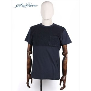Seagreen シーグリーン LIPIA パイル切り替え半袖 カットソー Tシャツ ネイビー MSG18S8062 国内正規品 up-avanti