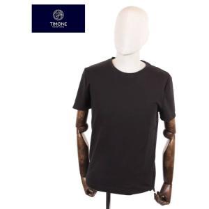 【国内正規品】 TIMONE ティモーネ パイル 半袖カットソー キシリトール 冷感 Tシャツ 無地 TM2407144 BLACK ブラック|up-avanti