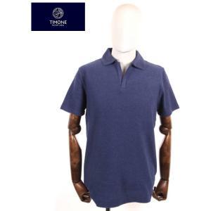 【国内正規品】 TIMONE ティモーネ パイル スキッパー ポロシャツ 半袖 TM2907413 NAVY ネイビー|up-avanti