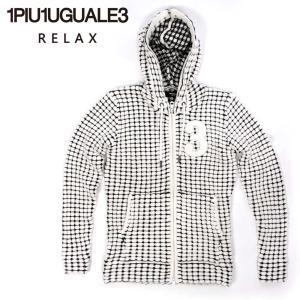 1PIU1UGUALE3 RELAX ウノピゥウノウグァーレトレ リラックス ビッグワッフル フーディー パーカー ジップアップ ホワイト uso-21029 国内正規品|up-avanti
