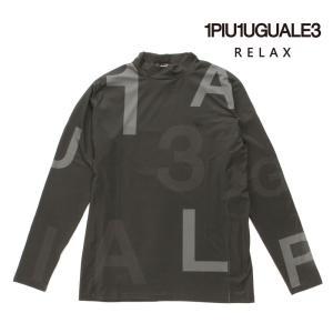 1PIU1UGUALE3 RELAX ウノピゥウノウグァーレトレ リラックス ラッシュガード 長袖 Tシャツ カットソー ロゴ ust-21013 ブラック 国内正規品|up-avanti