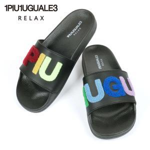 1PIU1UGUALE3 RELAX ウノピゥウノウグァーレトレ リラックス RAINBOW SAGARA LOGO SHOWER SANDAL ロゴ シャワーサンダル USX-21003 ブラック 国内正規品|up-avanti