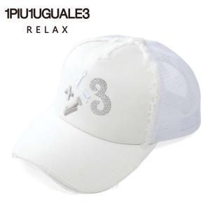 1PIU1UGUALE3 RELAX ウノピゥウノウグァーレトレ リラックス 1+1=3 ロゴ ラインストーン 刺繍 ダメージ加工 usz-21007 sn10 ホワイト 国内正規品|up-avanti