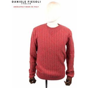 【国内正規品】DANIELE FIESOLI ダニエレフィエゾーリ ケーブル編み カシミアクルーネックニット WS3141 RED レッド up-avanti