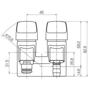 光陽産業 LB二口ペアON・OFFヒューズガス栓 都市ガス用 G025-12R|up-b|03