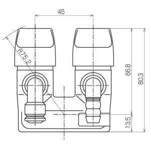 光陽産業 LB二口ペアON・OFFヒューズガス栓 LPG用 G025Z-12PR|up-b|02
