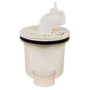 テクノテック[TECHNOTECH] 防水パン用排水トラップ PDT-SWM (本体透明・タテ引)目皿:アイボリーホワイト T.Eトラップ [新品]|up-b
