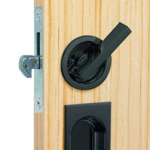 ウッドワン WOOD ONE【ZH22B5-7】引き戸後付大型サムターン表示錠セットB型(ブラック)...