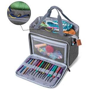 LUXJA かぎ編み用トートバッグ 小もの かぎ編み 道具 保管 持ち運び グレー (グレー Medium)|up-to-date