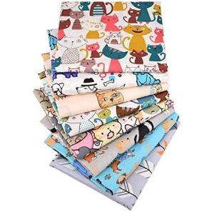 パッチワーク布 8枚セット 綿100% 生地 はぎれ布 可愛い 猫シリーズ プリント生地 手芸用布 裁縫材料 ハンドメイド 手作り (8枚セット)|up-to-date